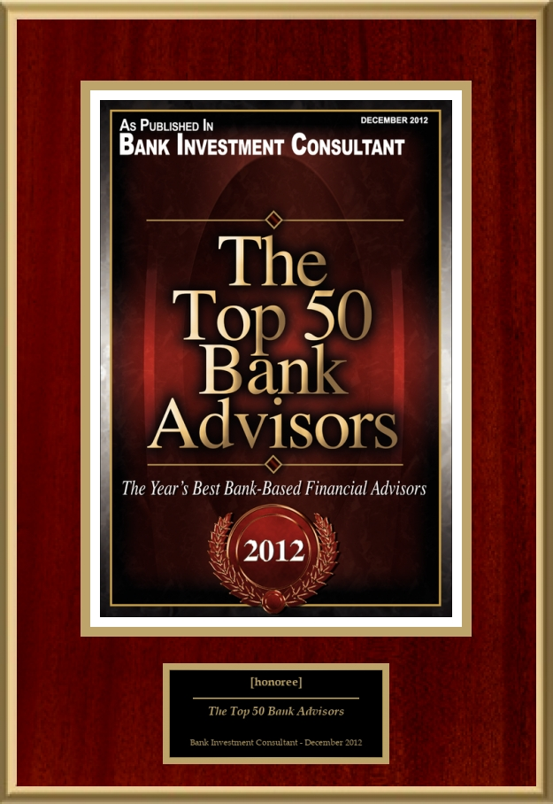 the top 50 bank advisors american registry recognition plaques