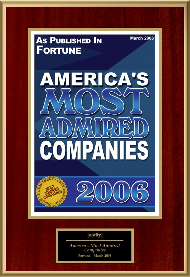 america s most admired companies 2004 and Best places to work recognition • america's most admired – • top 50 companies (2004 last year of survey) 2000-04.