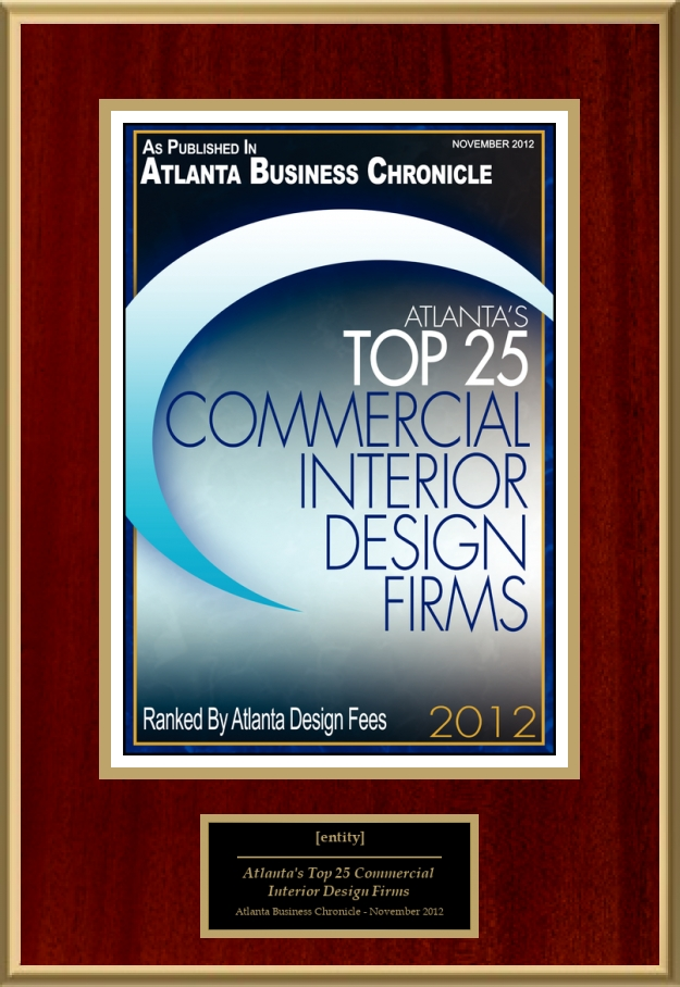 Atlanta S Top 25 Commercial Interior Design Firms American Registry Recognition Plaques Award Plaque Countertop Display Acrylic Displays Banner Printing